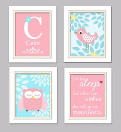 Nursery Quad, Aqua and pink Nursery, Owl Nursery, Set of 4 8X10, Pink, Aqua, Turquoise, Choose your colors