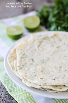 Homemade Flour Tortillas Recipe on twopeasandtheirpod.com Easy to make at home and so much better than store bought tortillas!