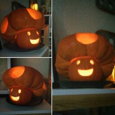 Best fall pumpkin carving, super simple and too cute! Yay for Super Mario Bros and nerdy pumpkins Funny Pumpkins, Halloween Pumpkins, Halloween Crafts, Halloween Jack, Halloween Quotes, Halloween 2019, Happy Halloween, Halloween Party, Halloween Costumes