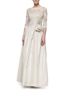 Women's 3/4 Sleeve Lace & Taffeta Gown by Teri Jon - My wedding ideas