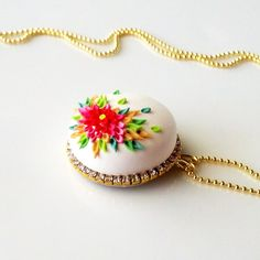 Jolly Holiday  PETIT FOUR NECKLACE - clay cabochon by Anca Pe'elma, $30.00