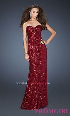 Strapless Sequin Long Dress for Prom by La Femme at PromGirl.com