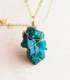 Dioptase Necklace Dioptase Cluster Necklace Druzy Pendant Green Gemstone Necklace Emerald Wire Wrap Necklace Gift For Wife Gift For Husband #dioptase #healing #crystals
