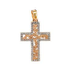 Σταυρός  δίχρωμος ροζ χρυσό Κ14  1482  ζιργκόν Symbols, Letters, Jewels, Crosses, Ring, Soldering, Rings, Jewerly, Letter