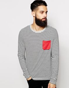 Enlarge ASOS Stripe Long Sleeve T-Shirt With Contrast Pocket
