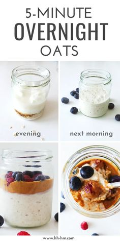 Healthy Overnight Oats (With Yogurt) – Her Highness, Hungry Me healthy overnight oats – super easy healthy breakfast to eat on the go! Make it in the evening and eat the next morning! Clean Eating Breakfast, Easy Healthy Breakfast, Clean Eating Snacks, Breakfast Smoothies, Breakfast Recipes, Mexican Breakfast, Breakfast Sandwiches, Breakfast Pizza, Breakfast Cookies