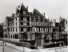 Remnants of the Vanderbilt Mansion in New York City. The rise and fall of the Vanderbilt family still pervades American historical lore and the remnants of Cornelius Vanderbilt II's Fifth Avenue Mansion can still be found throughout Manhattan. Vanderbilt Houses, Mansion Homes, Cornelius Vanderbilt, Gloria Vanderbilt, American Mansions, Black And White City, Old Mansions, Abandoned Mansions, Abandoned Houses