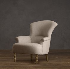 For bedroom: Josephine Chair from Restoration Hardware, if you want to be able to lay your head back you may want to go to the store and sit in it before purchasing to make sure it fits you right.