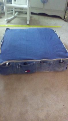 Floor Cushion With Blue Jean Pockets