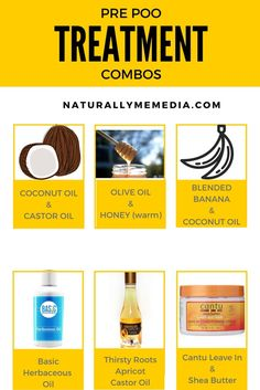 Some awesome pre poo treatment combos for your next wash day!  #naturalhair #hair #beauty #shampoo