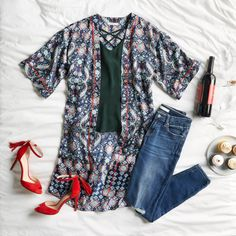 Love the outfit but I would wear my red flats--no heels right now until my surgery for my knee---and I prefer jeans with no holes or tatters
