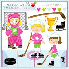 Hockey Girls - adorable Hockey girls for creating birthday invitations, cards, scrapbooking, web graphics and more.