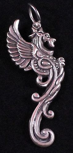Vintage Sterling Silver Dragon or Serpent Pendant by Paststore by paststore on Etsy