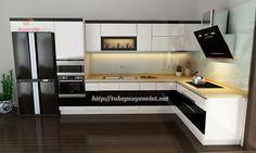 Tủ bếp gia đình - 0962268852: Nhà bếp đẹp kiểu chữ L nhà chị thu - Hà Nội