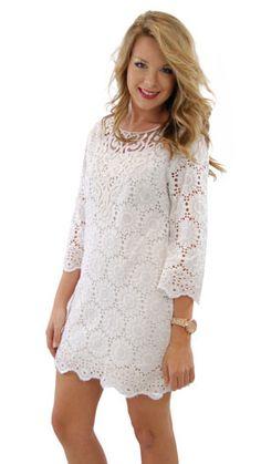 Tender Heart Dress, White :: NEW ARRIVALS :: The Blue Door Boutique