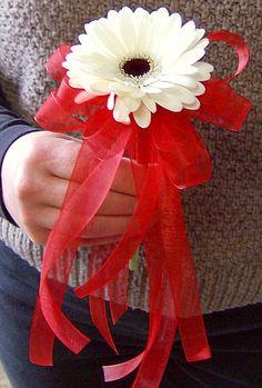 Gerbera Daisy with Ribbon Streamers Flower Girl Bouquet
