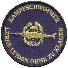 Bundesmarine Tätigkeitsabzeichen Kampfschwimmer Gold auf blau maschinengestickt