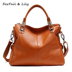 59.98$  Watch now - http://alijeg.worldwells.pw/go.php?t=32325789486 - FoxTail & Lily Luxury Women Real Leather Handbags Famous Designer Genuine Leather Bag Fashion Ladies Shoulder Crossbody Bags