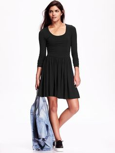 Women's Long-Sleeve Fit & Flare Dress Product Image