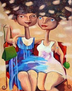 'Friends' - #Yelena - http://ift.tt/1XRnl39 ... #art #propertstyling #interiorstyling #decorative #interiodesign #bondi #sydney #melbourne #adelaide #perth #canberra #livingroom #modernart #gallery #girls #illustration #fashion #bag #brisbane #abstractart #artista  #surrealism