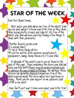 Star Student letter to parents- love this unique way to have a star student (versus just having 1 day for them to share it all)