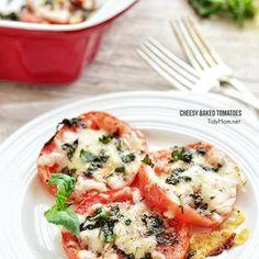 Cheesy Baked Tomatoes.Puedes hacerlos en la plancha...