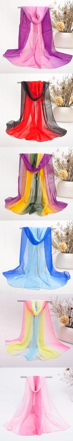 2017 New Fashion Rainbow Women Elegant Lady Chiffon Silk Scarf Summer Gradient Color Georgette Shawls Scarves foulard femme