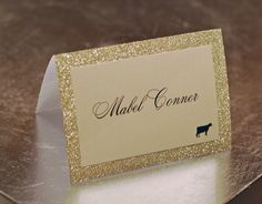 "Gold Glitter Double Layer Tented Place Escort Cards - 3 x 4"" Perfect bling for the wedding reception dinner!"