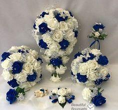 Wedding-Flowers-Ivory-Rose-Crystal-Bouquet-Bride-Bridesmaid-Flower-Girl-Wand