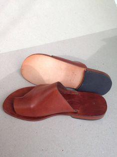 POSEIDON : Leather Slide Handmade leather sandals Genuie | Etsy Toe Loop Sandals, Natural Leather, Leather Sandals, Perfect Fit, Handmade Leather, Take That, Stylish, Heels, Shopping