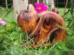Chainsaw Carved Netherland Dwarf Bunny by carvnstitch on Etsy, $50.00