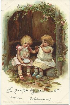 Unsigned vintage postcard but from a series illustrated by Harriett Mary Bennett - early 1900's.