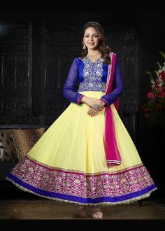 Buy Bollywood Ankle Length Anarkali Churidar Suit US$ 60.78 Shop at - bollywood-ankle-length-anarkali.blogspot.co.uk/2014/03/buy-bollywood-ankle-length-anarkali_20.html