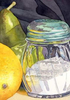 Salt Shaker ©LWatry 2013 Many watercolor artists avoid painting clear glass in watercolor because they are unsure how to approach the s...