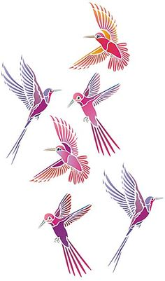 Three humming birds and flowers theme pack 2 sheet stencil pack Humming Birds Stencil. These beautiful little birds capture the imagination of artists the world over and make fantastic decorative motifs for a host of decorating projects. This theme pack comes with three different humming birds and