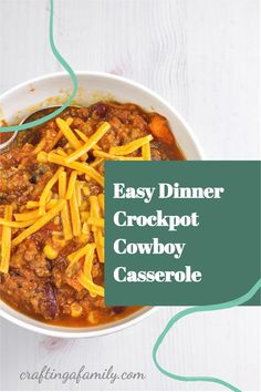Crockpot Cowboy Casserole, super easy dinner you can start in the morning and have ready at the end of a busy day. Kid friendly loaded with veggies. Delicious cheesy easy family meal New Recipes For Dinner, Dinner Recipes Easy Quick, Easy Dinners, Easy Recipes, Crockpot Cowboy Casserole, Super Easy Dinner, Best Comfort Food, Healthy Family Meals, Stuffed Sweet Peppers