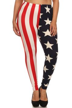 Patriotic Design Plus Size Leggings