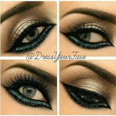 Smokey with dark green under eye liner