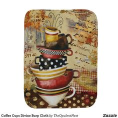 Shop Coffee Cups Divine Burp Cloth created by TheOpulentNest. Baby Shower Gifts, Baby Gifts, Baby Burp Cloths, Baby Accessories, Soft Fabrics, Coffee Cups, Cute, Coffee Mugs, Shower Gifts