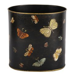This simple elegant design is the perfect study waste paper bin. The dark moody background brings out the colours of the beautiful butterflies, which are all individually hand painted.  #HomeDecor #Interiors #InteriorDesign #Decor