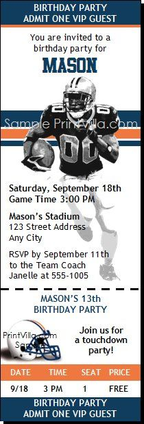Auburn Tigers Football Birthday Party Ticket Invitations from Print Villa...personalized just for you!