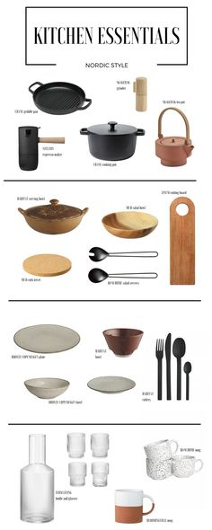 Essential accessories for new scandinavian kitchen. Minimalist design, natural materials, muted colour palette.