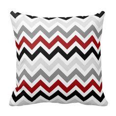 Dark Red Black Gray Chevron Zigzag Pattern Pillow #pillows #homedecor