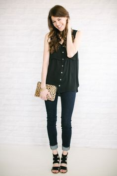 Black Flowy Top// Dark Wash Skinnies// Black Strappy Sandals + Interestingly patterned clutch +