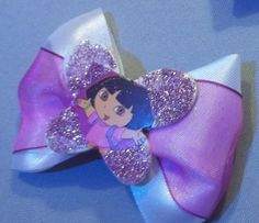 Butterfly Glitter Embellished Dora The Explorer Hair Bow Clips | Jenstardesigns - Accessories on ArtFire