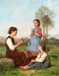 Three Girls Winding Wreaths Albert Anker - 1868