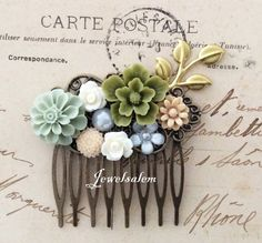 Olive Green Wedding Comb Bridal Hair Accessories Sage Beige Latte White Floral Gold Leaf HeadPiece Nature Woodland Autumn Chic Romantic WR