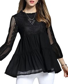 Special Offer: $17.99 amazon.com Women's Plus Size T-shirts Lace Chiffon Casual Loose Blouse Tops. Brand: OLRAIN.Feature: Long Sleeve,Crew Neck,Loose hem,Patchwork,Soft Lace through. New Spring Fashion Oversize Casual wear for womens or girls. Classical BLACK and RED color,FIVE plus...