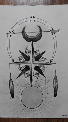 Rose of wind; Native american; Moon; Arrow; Sunlight; Ink art; Dots art; Geometric by District44 on Etsy