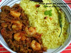 Ridge gourd and prawn masala is a very popular dish in Andhra, known as Beerakaya Royyala masala in Telugu and Turai aur Jhinga ka masala in our home. Ridge gourd combined with prawns makes this dish very delicious and appetising. Prawn Recipes, Curry Recipes, Seafood Recipes, Cooking Recipes, Indian Chicken Recipes, Indian Food Recipes, South Indian Curry Recipe, Tandoori Lamb, Fish Cutlets